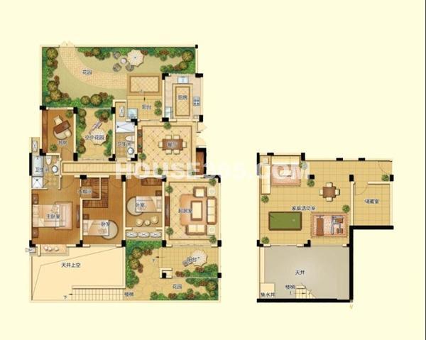 新港天城一期21#一层复式G2户型6室3厅2卫1厨 235.33㎡