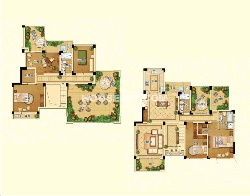 新港天城一期17#、21#顶层复式H1户型5室2厅3卫1厨 217.9