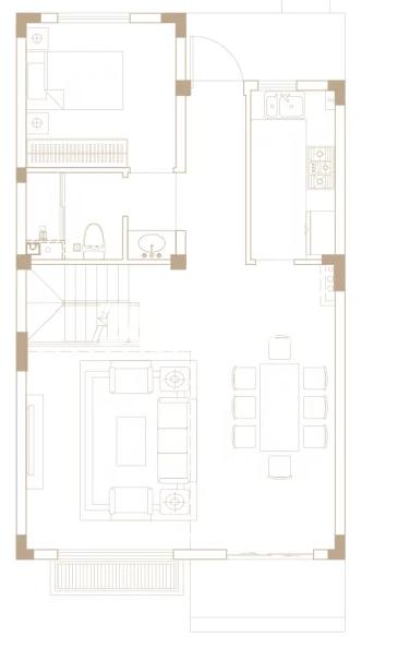 205平户型, 联排别墅-一楼