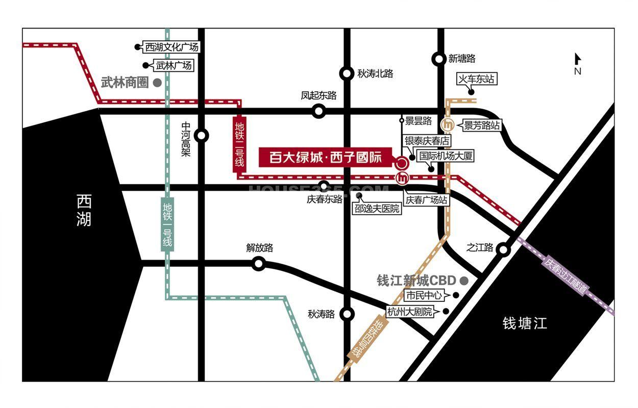 百大绿城西子国际交通图
