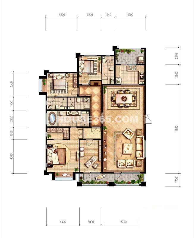 纳帕溪谷·金源238平米户型4室2厅2卫1厨