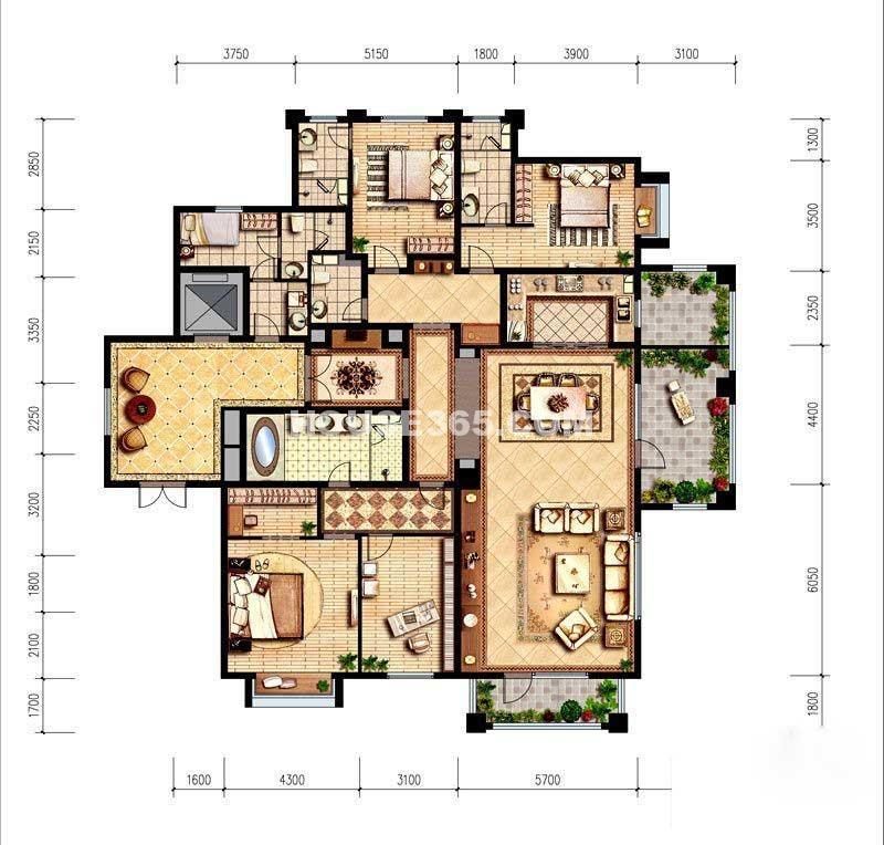 纳帕溪谷·金源272平米户型4室2厅5卫1厨 272.00㎡