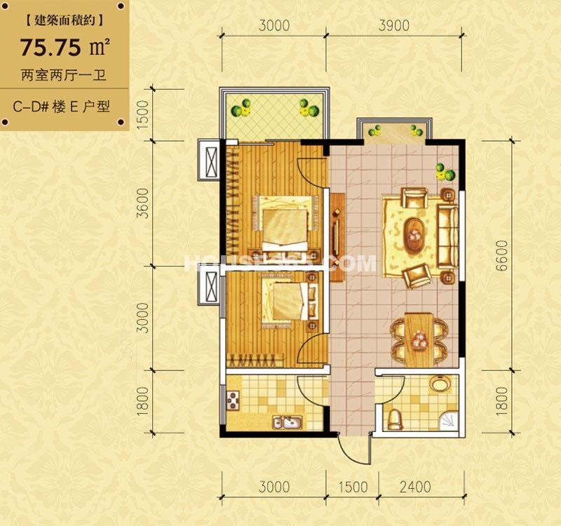 百花御景名都CD#楼E户型2室2厅1卫 75.75㎡