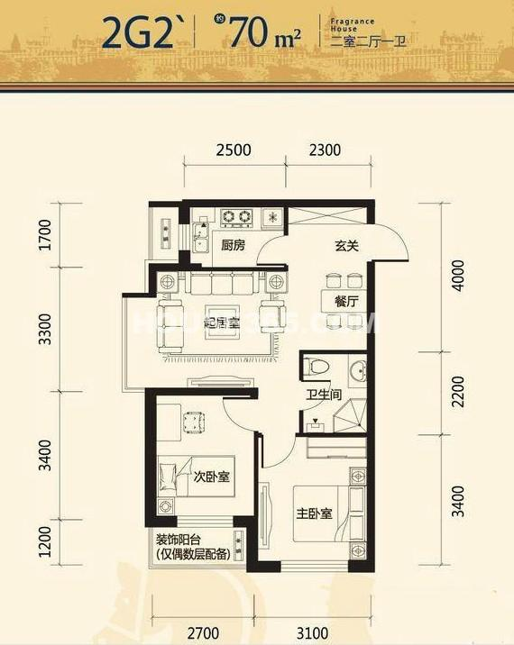 唐轩公馆2室2厅1厨1卫2G2 70平米户型