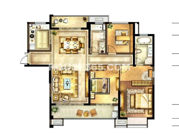1#-01户型 2室2厅2卫+书房