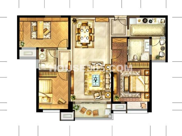 7#-02户型 2室2厅2卫+书房