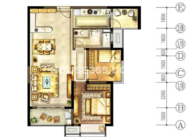 1#-02户型 1室2厅1卫+书房