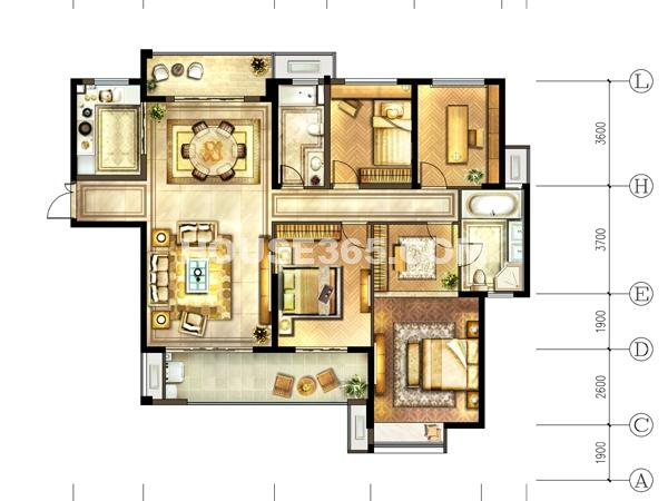 9#-01户型 3室2厅2卫+书房
