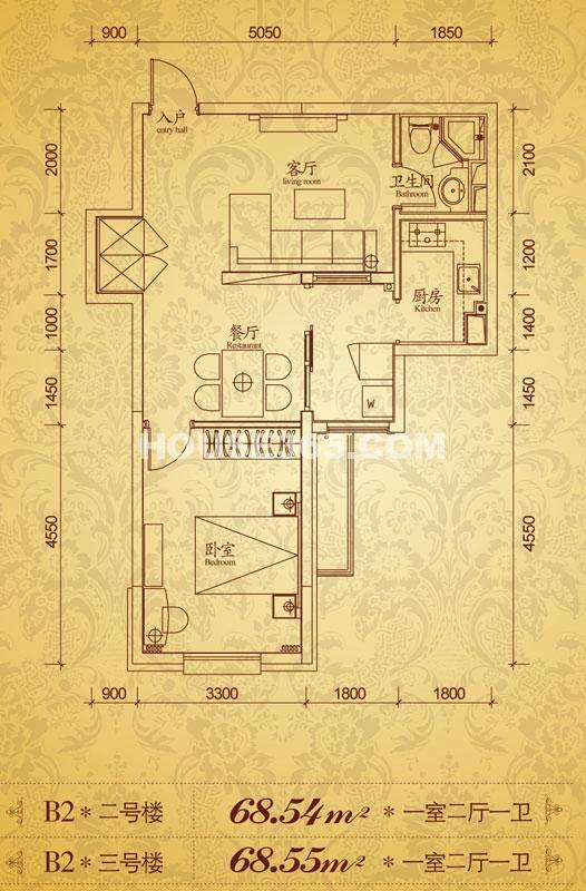 沈阳雅宾利花园二期B2一室两厅一卫68.54平