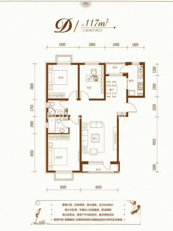 伯爵源筑D户型图117平米
