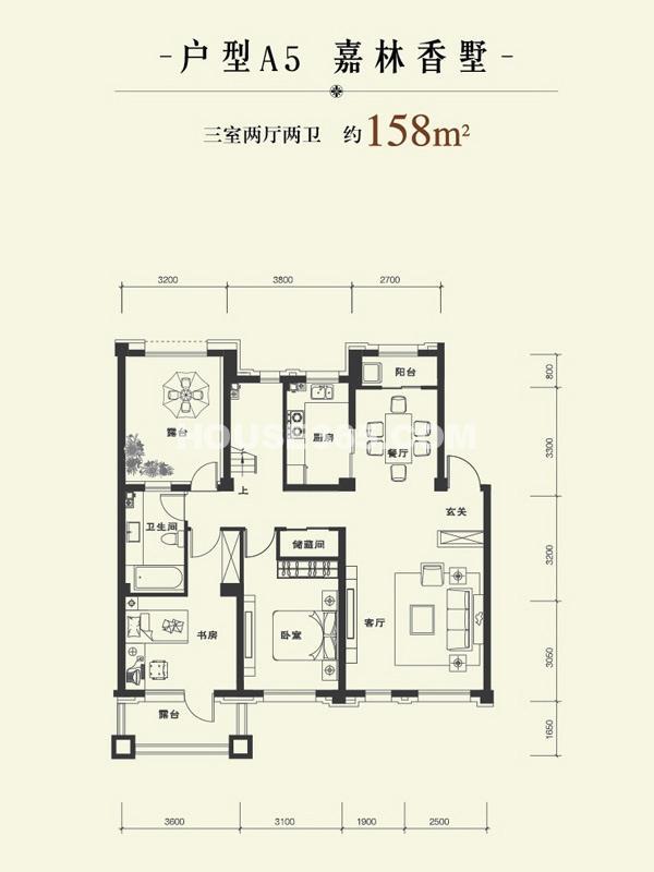 康华朗香邸A5户型158㎡