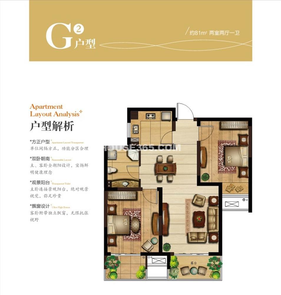 G2户型 81平方米 两室两厅一卫