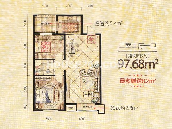 凤凰水城2室2厅1卫97.68㎡