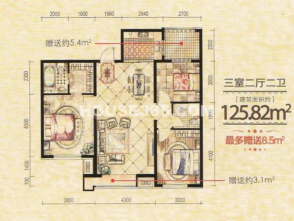 凤凰水城3室2厅2卫125.82㎡