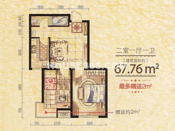 凤凰水城2室1厅1卫67.76㎡