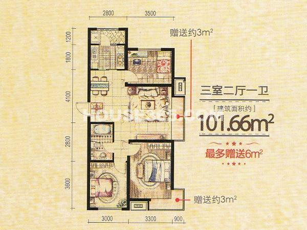 凤凰水城3室2厅1卫101.66㎡