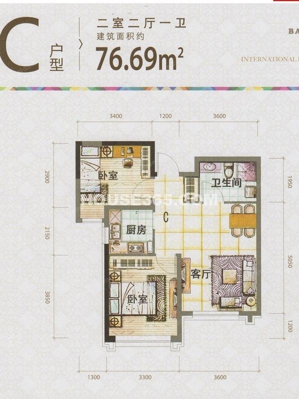 泰盈十里锦城C户型图76.69平米