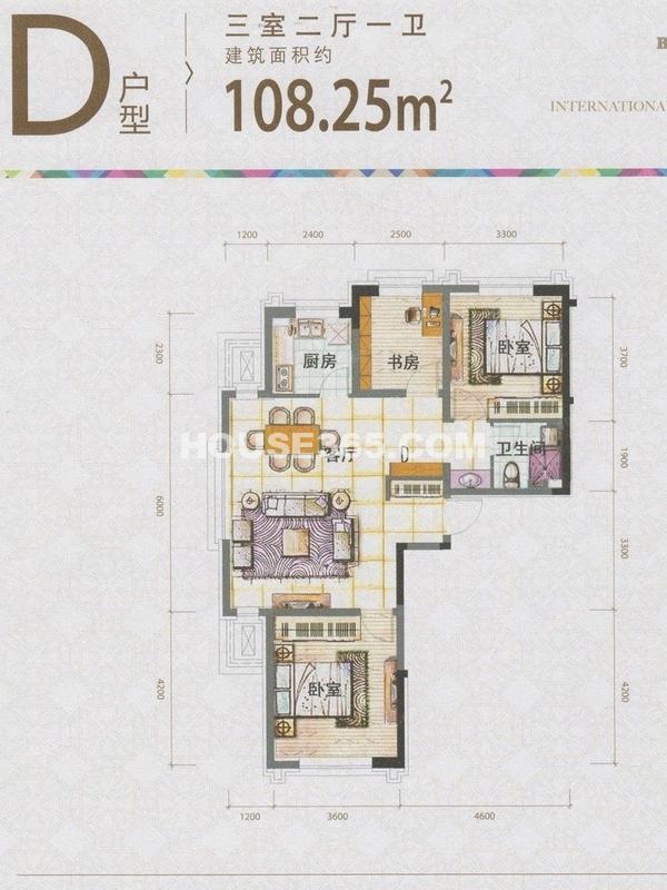泰盈十里锦城D户型图108.25平米