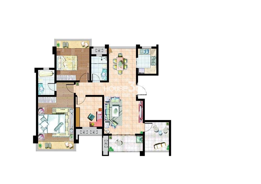 住宅C户型120平米3室2厅1厨2卫