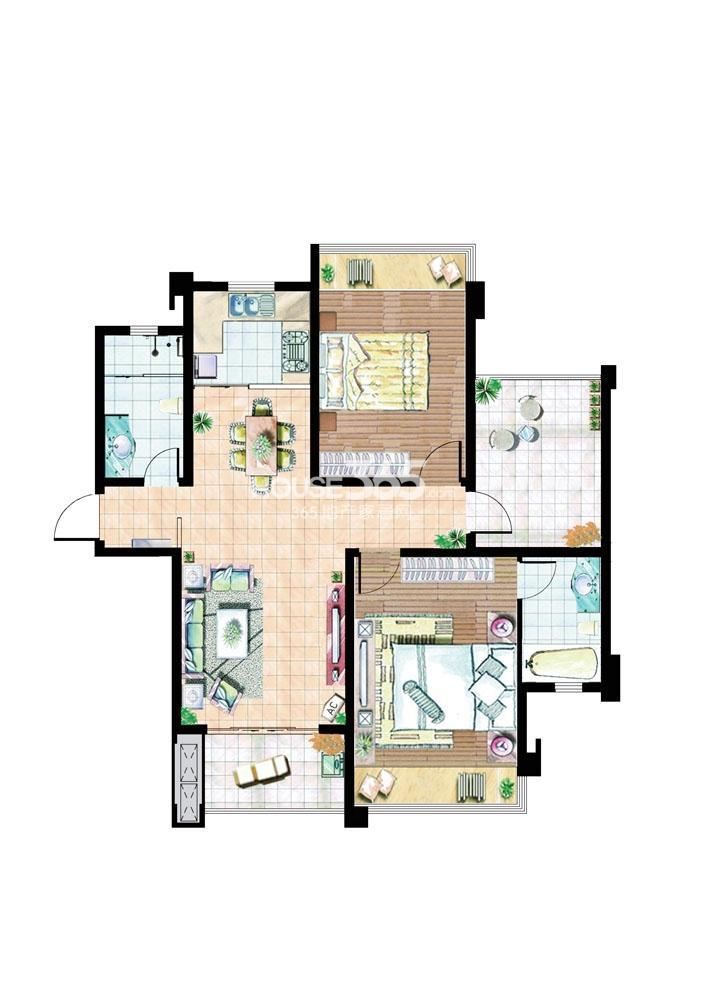 住宅E户型106平米2室2厅1厨2卫