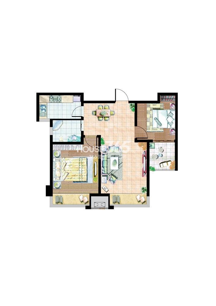 住宅B户型78平米2室2厅1厨1卫