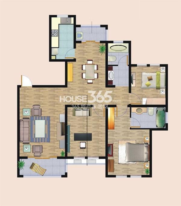 欧风丽苑A户型3室2厅2卫 127.00㎡