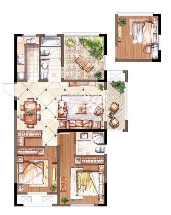 伟业迎春乐家19#楼M1户型3室2厅2卫1厨 108.00㎡