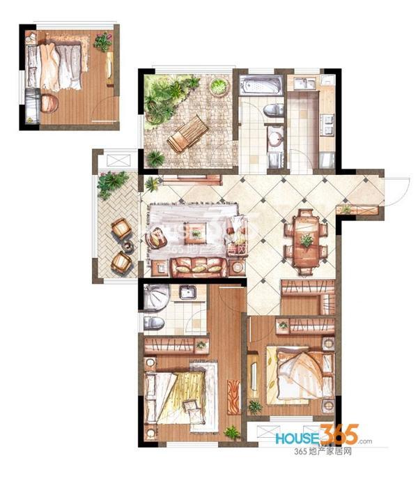 伟业迎春乐家19#楼M2户型3室2厅2卫1厨 110.00㎡