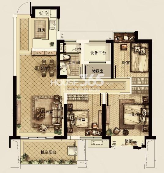 中天官河锦庭1、3、4、5、6号楼D户型 89.00㎡  3室2厅1卫1厨