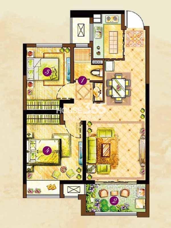 A1户型星回(124#126#131#楼)-两室两厅一卫80平