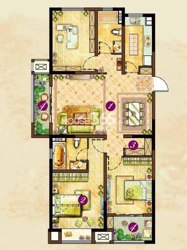 C3户型朝颜(124#126#楼)-三室两厅两卫127平