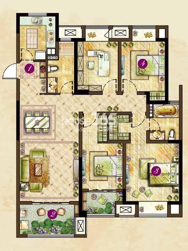 C1户型槐夏(124#126#楼)-四室两厅两卫142平