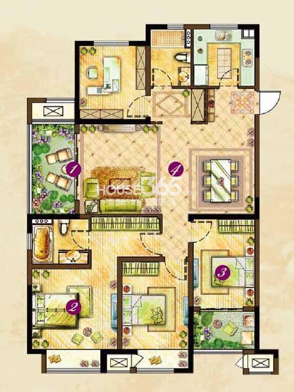 C2户型松风(131#132#楼)-四室两厅两卫143平