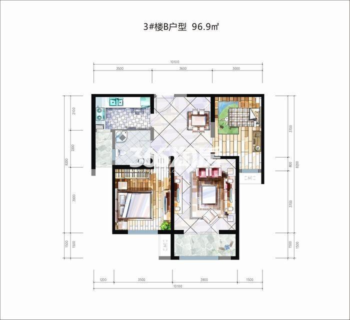 华安紫竹苑3#楼B户型2室2厅1卫1厨96.90㎡