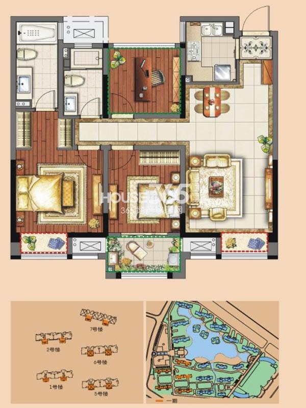 B户型 三房两厅两卫 102平米