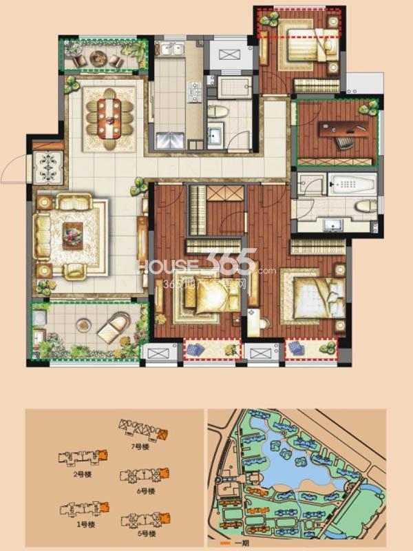 D户型 四房两厅两卫 142平米
