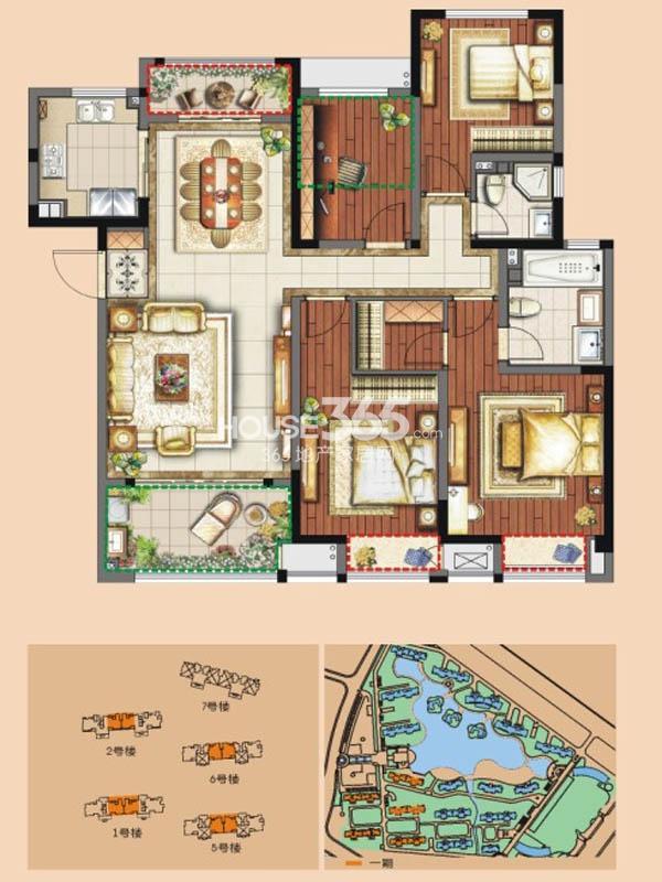 C1户型 3+1房两厅两卫 138平米
