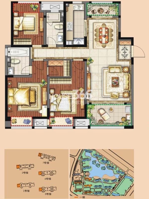 A户型 三房两厅两卫 125平米