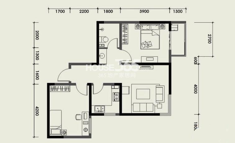 经发新北居户型2室1厅1厨1卫 72.81㎡