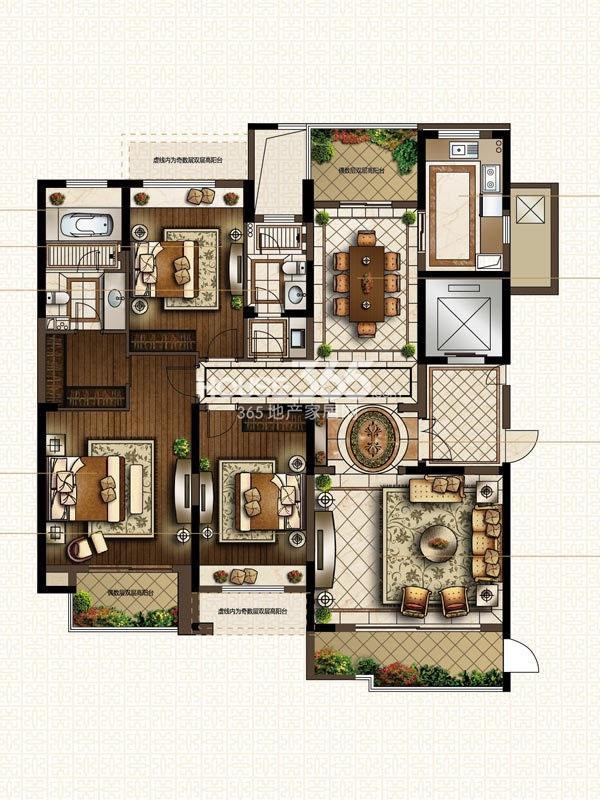 中海寰宇天下G2-180方户型图 3室2厅2卫1厨 180.00㎡