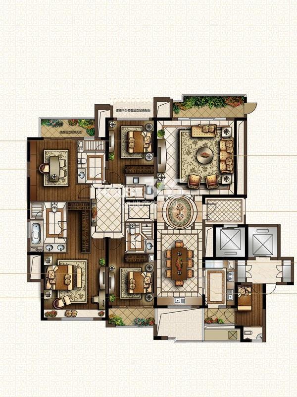 中海寰宇天下H1-255方户型图 4室2厅2卫1厨 255.00㎡