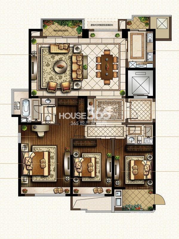 中海寰宇天下G1-180方户型图 3室2厅2卫1厨 180.00㎡