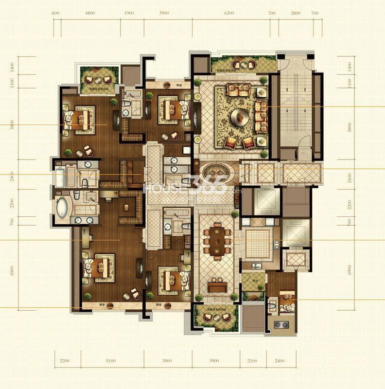 中海寰宇天下8、9、10幢偶数层户型图 6室3厅7卫2厨 345.00㎡