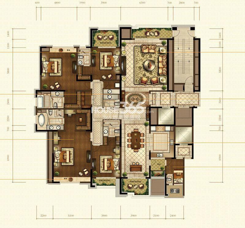中海寰宇天下8、9、10幢奇数层户型图6室3厅7卫2厨 345.00㎡
