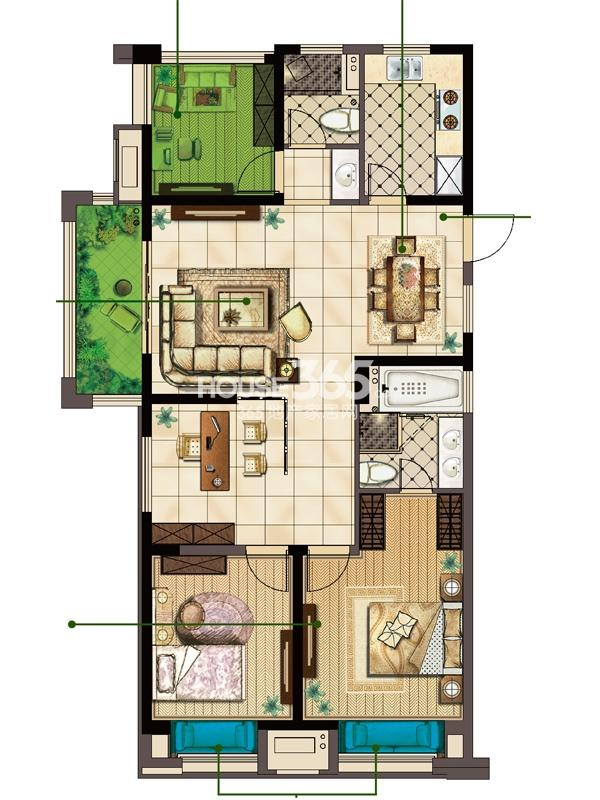 A户型 两室两厅两卫