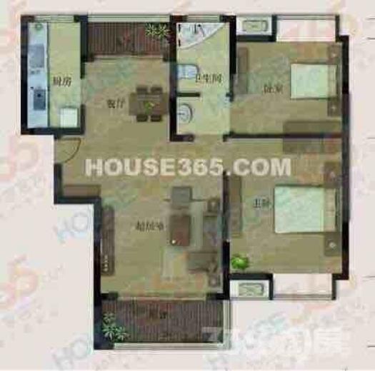 地大橡树园2室1厅1卫90平米整租豪华装