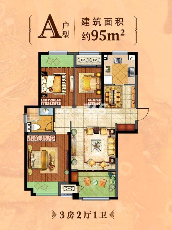 A户型-3室2厅1卫-95平