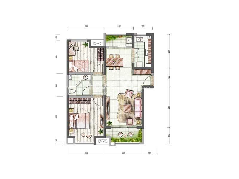 中海城6#楼B户型2室2厅1卫1厨 84.00㎡