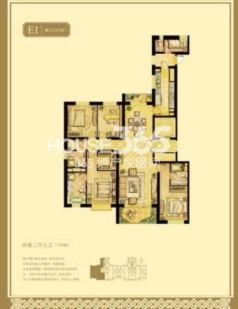 5#楼E4户型 四室两厅三卫 约213.27平