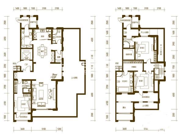万科柏翠园G户型3室2厅4卫1厨 276.00㎡